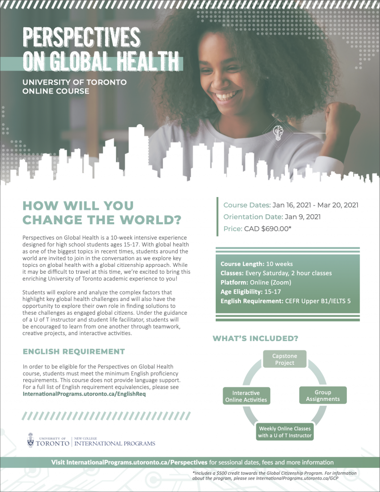 Perspective on Global Health – Online Course at University of Toronto