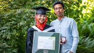 Faria Firoz with husband Mynol Vhuiyan celebrating award