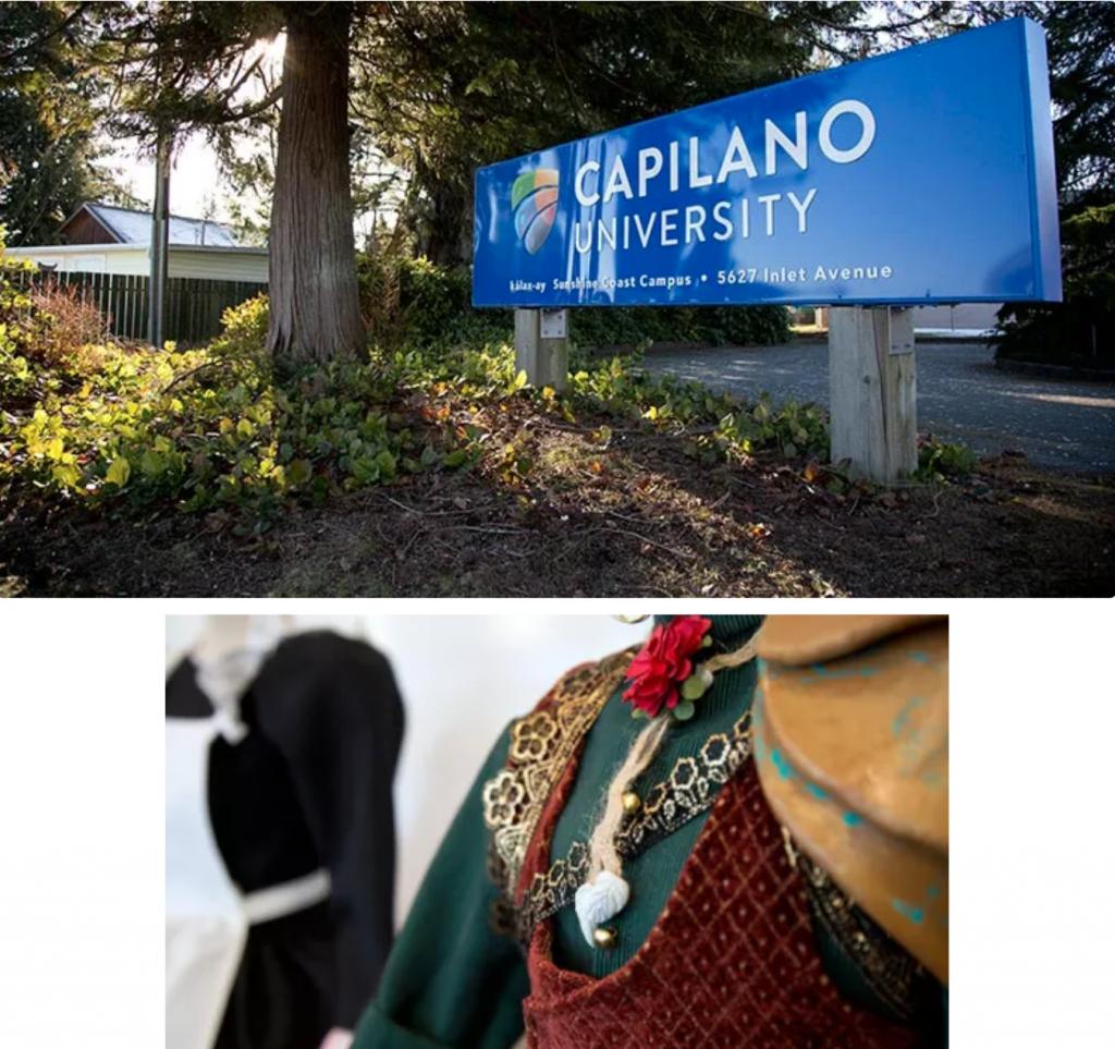 Fashion and logo of Capilano University.