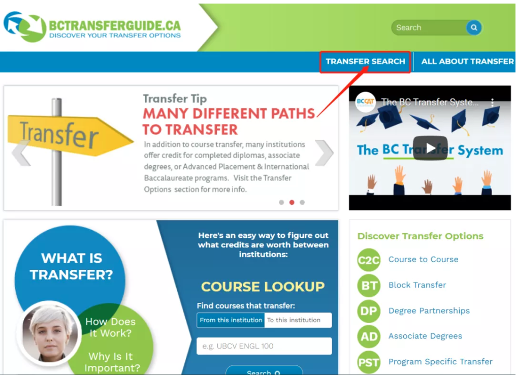 """BC Transfer Guide Screenshot with """"Transfer Search"""" highlight"""